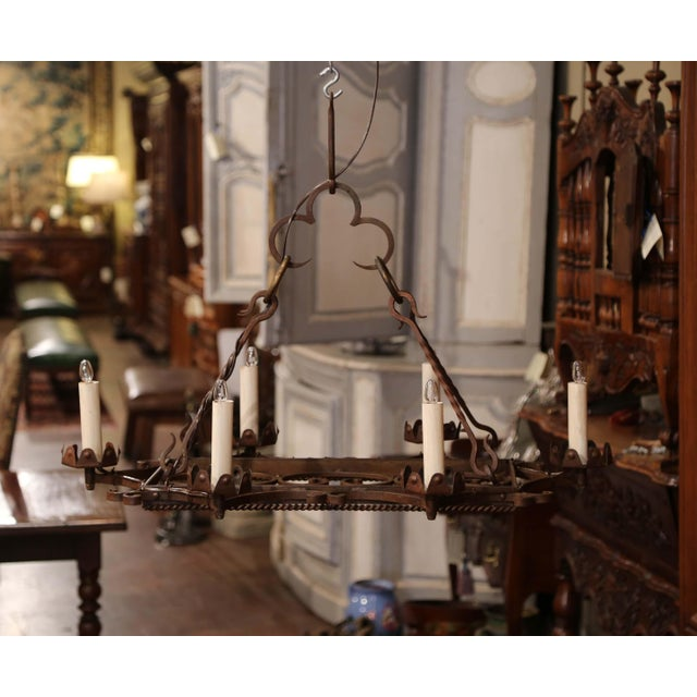 Early 20th Century Early 20th Century French Iron Six-Light Flat Bottom Island Chandelier For Sale - Image 5 of 10