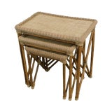 Image of Rattan Bamboo & Woven Cord X Base Nesting Tables For Sale