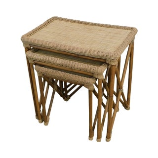 Rattan Bamboo & Woven Cord X Base Nesting Tables For Sale