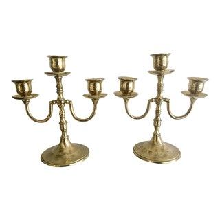 Etched Brass Vintage Candelabra