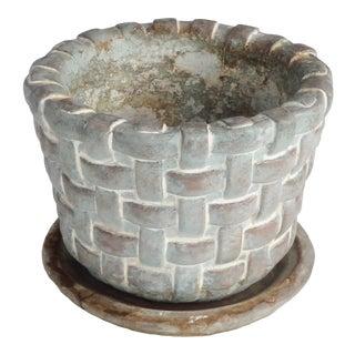 Isabelle Bloom Signed Concrete Woven Planter Pot For Sale
