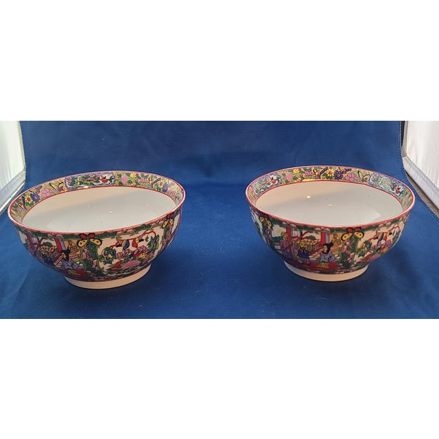 "Red Pair Chinese Porcelain Hand Decorated Behesti Super 6"" Bowls For Sale - Image 8 of 8"