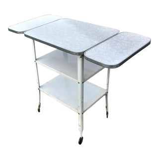 Mid-Century Formica Top Drop Leaf Rolling Kitchen Cart Work Island For Sale