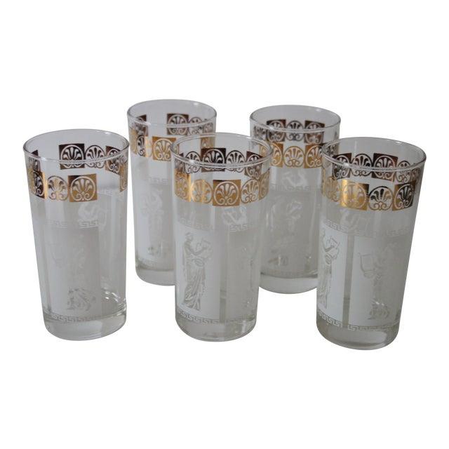 Vintage Greek Glasses - Set of 5 For Sale