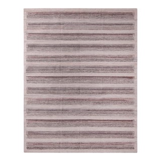 Scandinavian Style Striped Beige Brown Polyester Kilim - Outdoor Rug For Sale