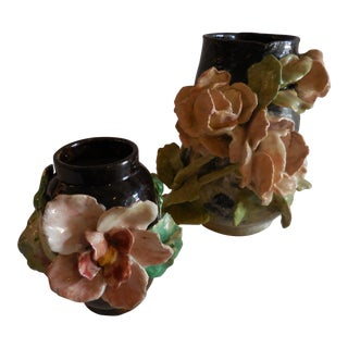 French Majolica Barbotine Floral Vases - a Pair For Sale