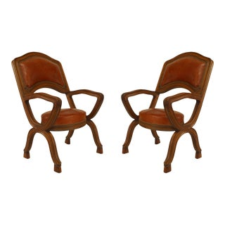 French Provincial Leather Arm Chairs, Pair For Sale