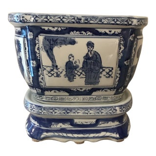 Blue and White Chinoiserie Ceramic Planter For Sale