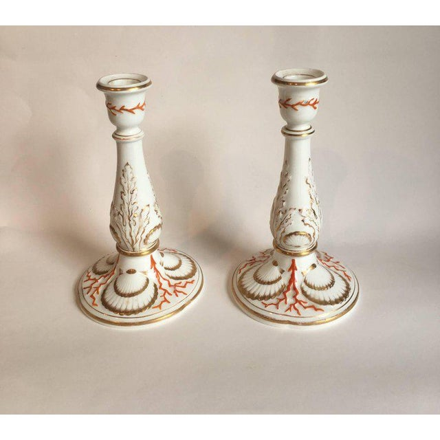 Nautical Staffordshire Coral and Shell Porcelain Bud Vases and Candlesticks - 4 Pc. For Sale - Image 3 of 6