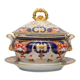 19th Century Crown Derby Circular Tureen For Sale