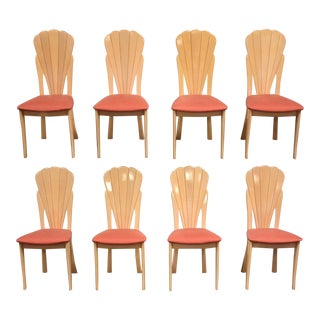 Modern Scalloped Italian Dining Chairs- Set of 8 For Sale