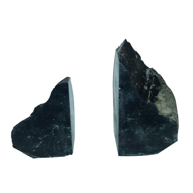 Natural Black Obsidian Bookends - A Pair For Sale