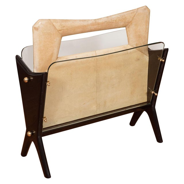 1960s Vintage Goatskin and Lacquered Wood Magazine Rack For Sale - Image 5 of 5