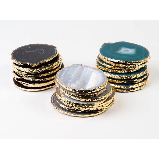 Boho Chic Set of Eight Semi-Precious Gemstone Coasters Grey Agate Wrapped in 24-Karat Gold For Sale - Image 3 of 11