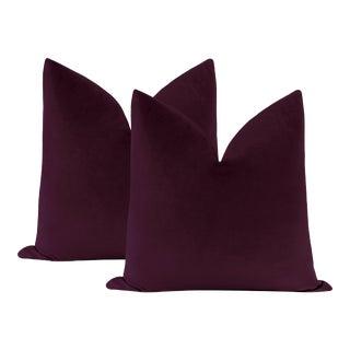 "22"" Mulberry Velvet Pillows - a Pair For Sale"
