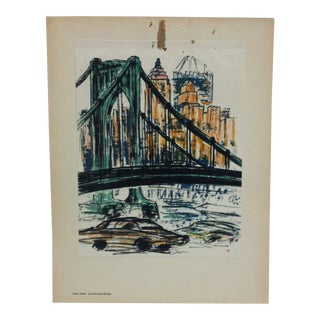 "Mounted Color Pittsburgh Print, ""Seventh Street Bridge"" by Julius Kahn - 1969 For Sale"