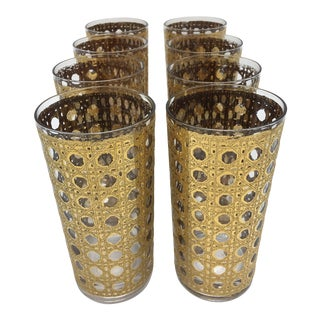 Vintage Gold Basket Weave Tall Boy Glasses - Set of Eight For Sale