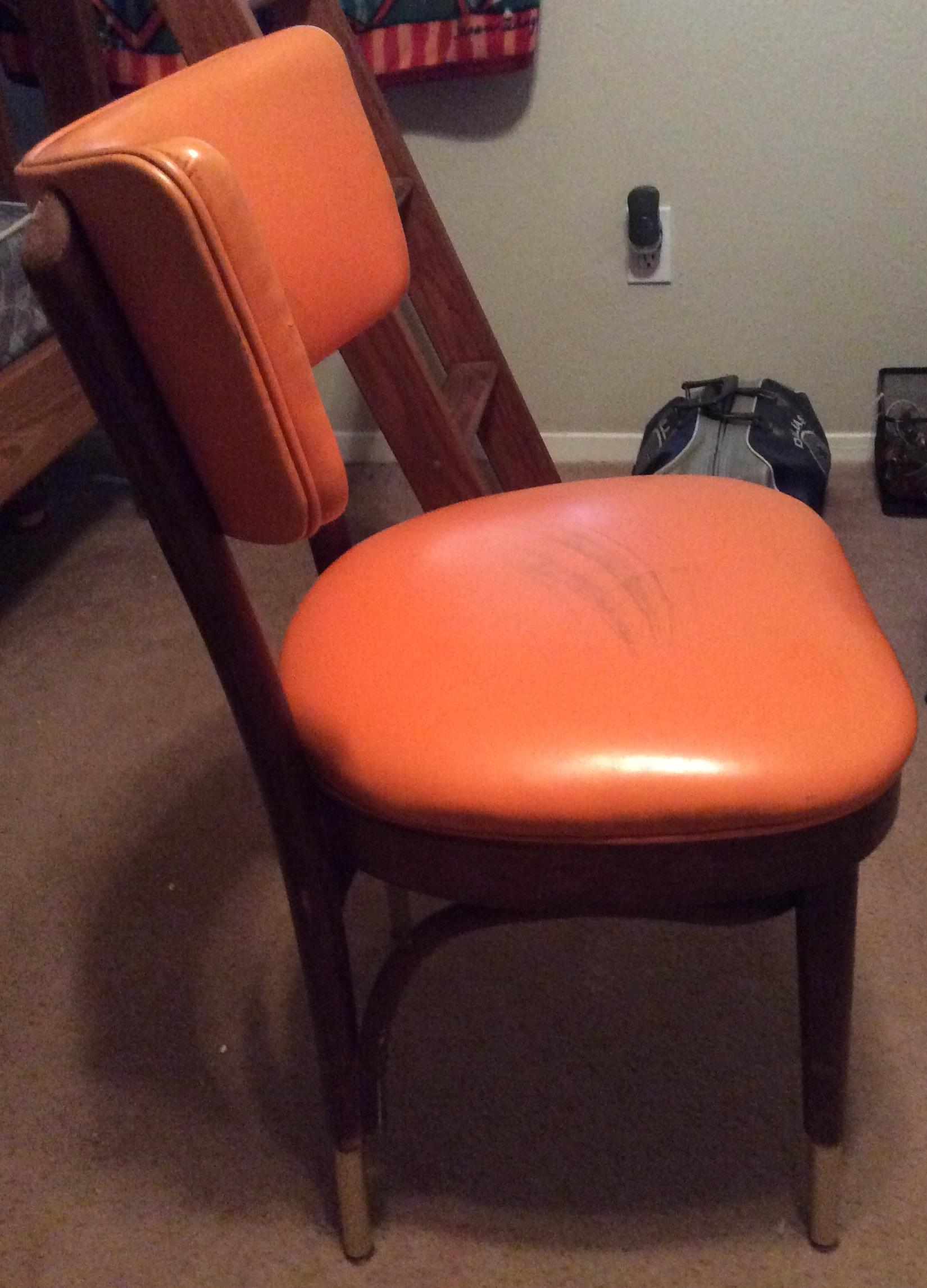 Shelby Williams Vintage Retro Orange Side Chair   Image 4 Of 9