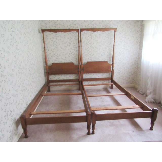 Solid Maple Pennsylvania House Mock Canopy Twin Beds - a Pair For Sale - Image 9 of 9