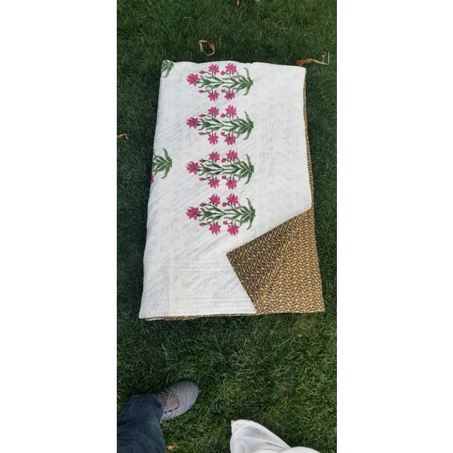 Textile Hand Block Print Cotton Queen Size Bed Quilt For Sale - Image 7 of 8