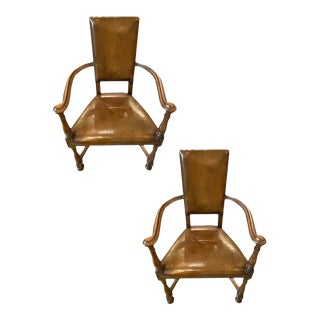 19th Century Louis XIII Style Curved Arm Leather Chairs - a Pair For Sale