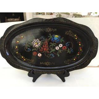 Made in Japan-Antique Papier Mache Hand Painted Scalloped Tray Preview