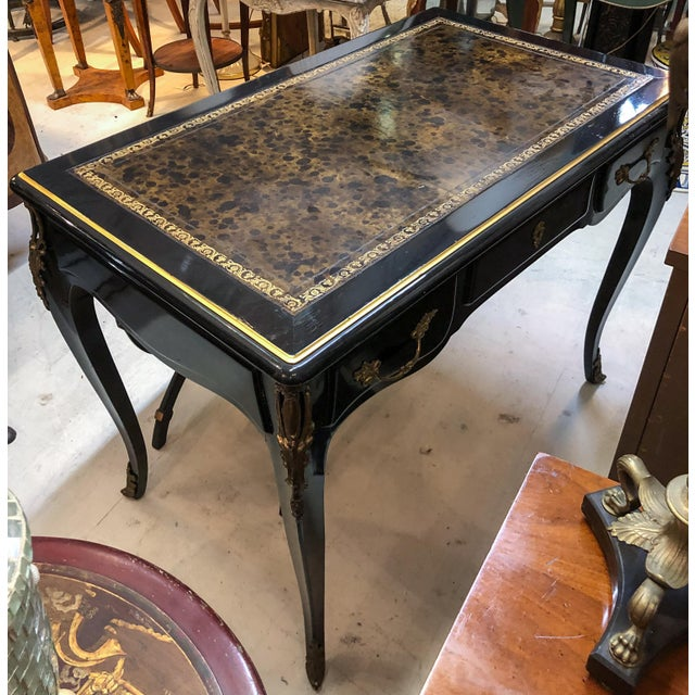 Black Louis XV Style Desk / Secretary With Neoclassical Stool Set For Sale - Image 8 of 13