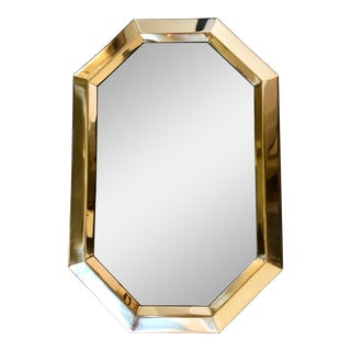 Vintage Brass Octagonal Mirror For Sale