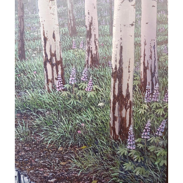 Acrylic Jack Braman -Inside a Misty Forest of Aspens -Realism-Oil Painting For Sale - Image 7 of 12