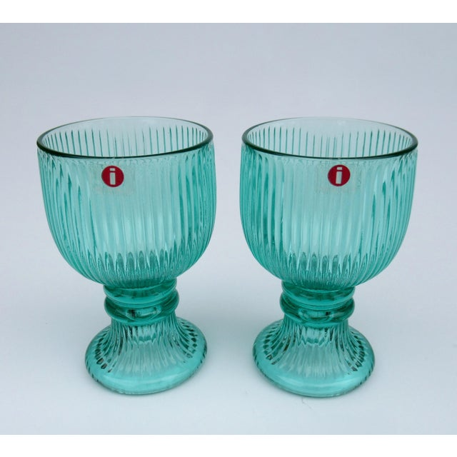 Mid-Century Modern Vintage l'Ittala Crystal Round Fluted Mint Cordial Glasses - Set of 2 For Sale - Image 3 of 13