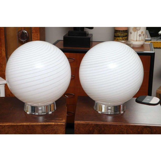 Extra Large Vetri Murano Glass & Lucite Globe Table Lamps - a Pair For Sale - Image 9 of 9
