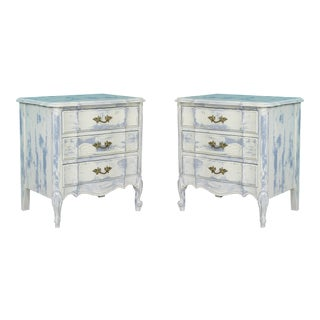 French Provincial Mid Century Cream Nightstands - a Pair For Sale