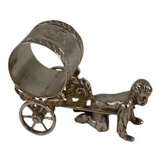 Victorian Boy & Cart Silver Figural Napkin Ring/Holder