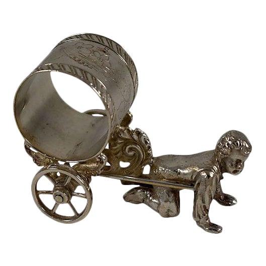 Image of Victorian Boy & Cart Silver Figural Napkin Ring/Holder