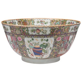20th Century Chinese Rose Medallion Punch Bowl For Sale