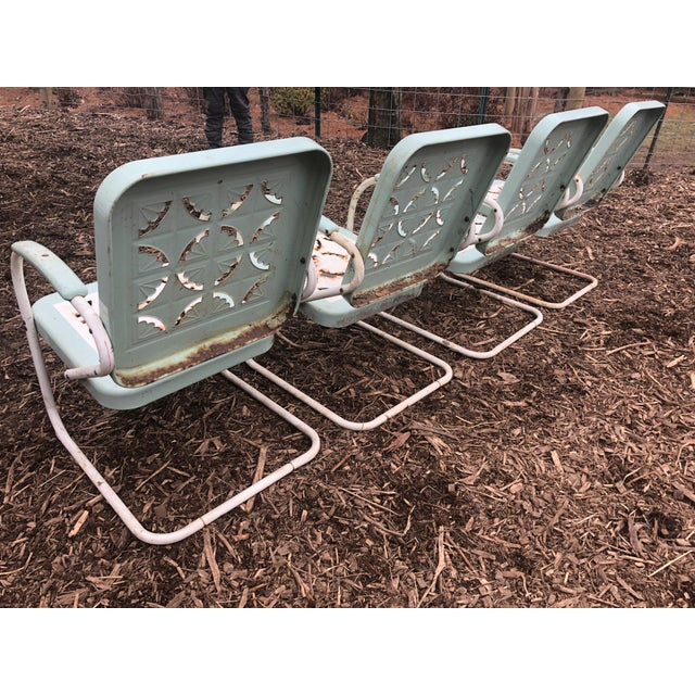 Country Garden Arm Chairs in Light Turquoise and White - Set of 4 For Sale - Image 11 of 12