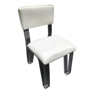 Lucite and White Vinyl Vanity Chair For Sale