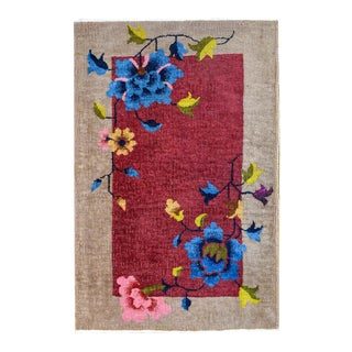 Petite Chinese Art Deco Rug For Sale
