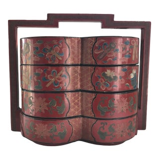 Vintage Chinese Lacquer Red and Gold Swan Wedding Chest Tiered Stacking Box For Sale