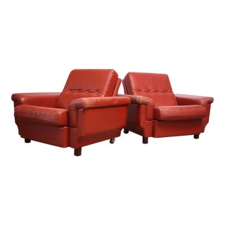 Danish Modern Lounge Chairs in Coral Leather - A Pair