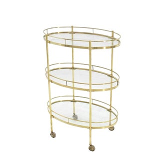 Three-Tier Brass Oval Tea Serving Cart For Sale
