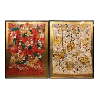 Pair of Vintage Kimono Wedding Robes in Glass Frames