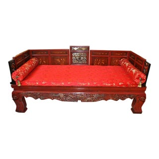 Antique Qing Dynasty Gilt Decorated Red Lacquered Opium Bed With Inlaid Panels For Sale