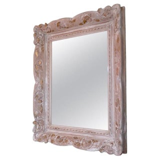 19th Century French Hand-Carved Wood Framed Mirror For Sale