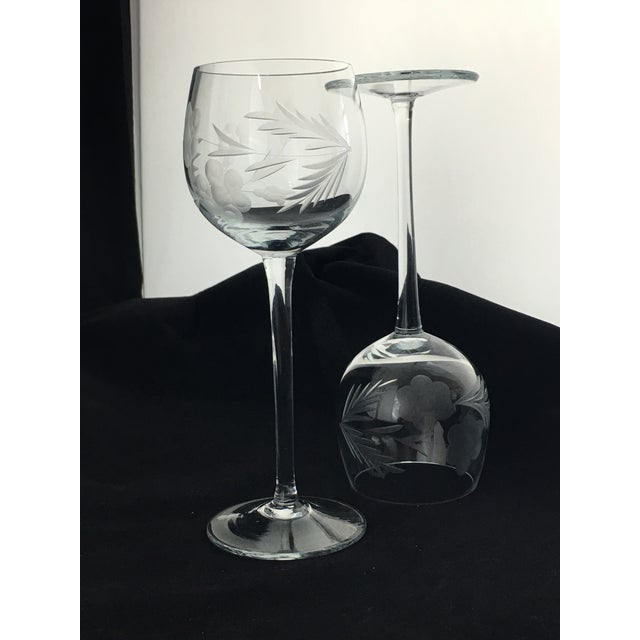 Mid 20th Century Vintage Etched Crystal Stemware - Set of 9 For Sale - Image 5 of 12