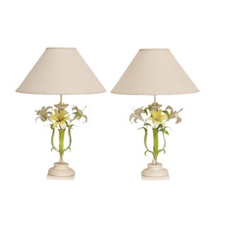 Italian Tole Painted Table Lamps - A Pair
