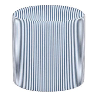 Drum Ottoman in Azul Ticking Stripe For Sale