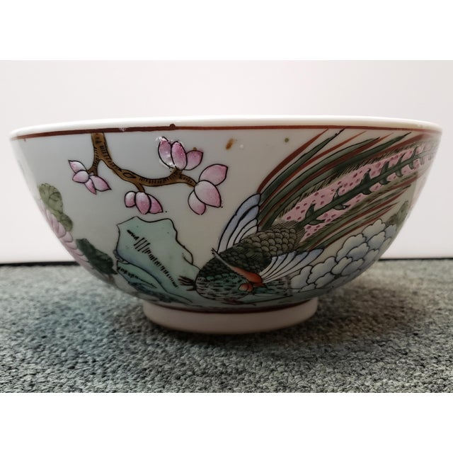 Chinese Mid 20th Century Chinese Famille Verte Porcelain Peacock/Floral Motifs Bowl For Sale - Image 3 of 8