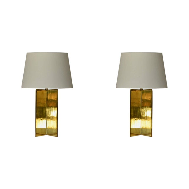 Gold Contemporary Design Frères 'Croisillon' Solid Brass and Parchment Lamps - a Pair For Sale - Image 8 of 8