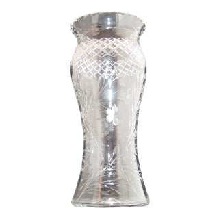 Vintage Large Hand Cut Lead Crystal Vase For Sale